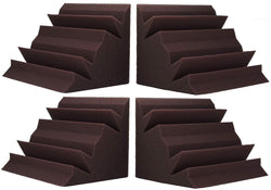 "SOUNDPROOF FOAM 4 PACK! BASS ABSORBER TRAP CORNER SOUNDPROOFING FOAM 12 X12 X 24"" BURGUNDY"