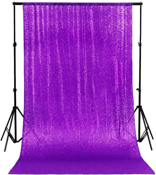 Sequin Curtain 4FTx8FT Sequin Photo Backdrop Sequin Backdrop Curtain Glitter Photography Backdrop Bridal Shower Backdrop for Wedding PURPLE