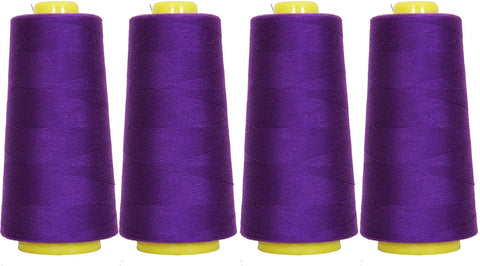 4-Pack of 6000 Yards (EACH) Serger Cone Thread All Purpose Sewing Thread Polyester Spools Overlock (Serger,Over lock, Merrow, Single Needle) PURPLE
