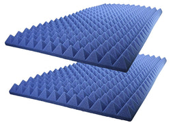 "Acoustic Foam Sound Absorption Pyramid Studio Treatment Wall Panel 48"" X 24"" X 2.5"" (2 Pack) Blue"