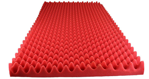 "RED SOUNDPROOF FOAM PROFESSIONAL ACOUSTIC FOAM EGG CRATE PANEL STUDIO SOUNDPROOFING FOAM WALL PANEL 72"" X 36"" X 2.5"""