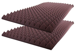 "Acoustic Foam Sound Absorption Pyramid Studio Treatment Wall Panel 48"" X 24"" X 2.5"" (2 Pack) Burgundy"