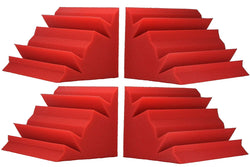 "SOUNDPROOF FOAM 4 PACK! BASS ABSORBER TRAP CORNER SOUNDPROOFING FOAM 12 X12 X 24"" RED"