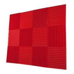 "12 Pack Acoustic Panels Studio Foam Wedges 1"" X 12"" X 12"" Red"