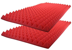 "Acoustic Foam Sound Absorption Pyramid Studio Treatment Wall Panel 48"" X 24"" X 2.5"" (2 Pack) Red"