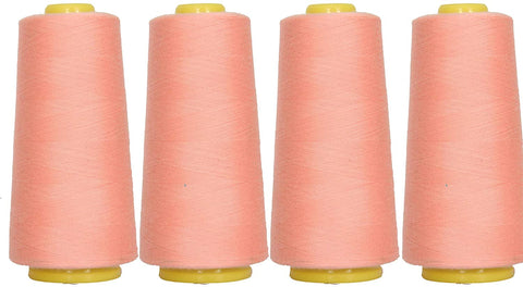 4-Pack of 6000 Yards (EACH) Serger Cone Thread All Purpose Sewing Thread Polyester Spools Overlock (Serger,Over lock, Merrow, Single Needle) PEACH