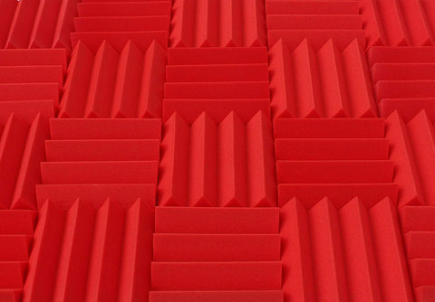 "3"" Red Acoustic Foam (12 Pack Kit) - Wedge 3"" 12"" x 12"" covers 12sq Ft SoundProofing/Blocking/Absorbing Acoustical Foam - Made In USA!"