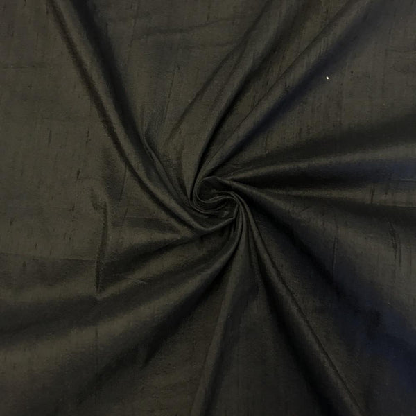 "100% Pure Silk Dupioni Fabric 54""Wide BTY Drape Blouse Dress Craft Sold By The Yard.Black"