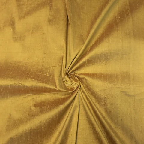 "100% Pure Silk Dupioni Fabric 54""Wide BTY Drape Blouse Dress Craft Sold By The Yard. Dk Gold"