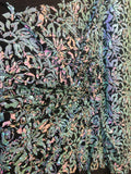2 Way Stretch Velvet Sequins Iridescent Sequin Fabric Floral Reversible Embroidery on Black Velvet 2 Way Stretch By Yard. Mint/Pink/Black
