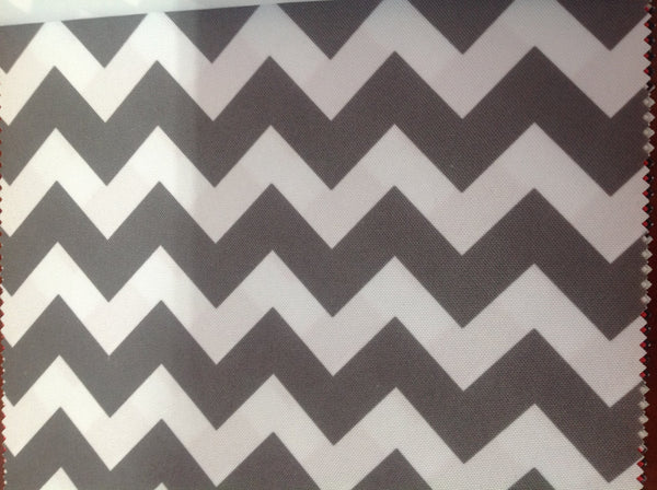 Zig Zag Chevron Canvas Outdoor Fabric Waterproof / White/Gray / Sold By The Yard