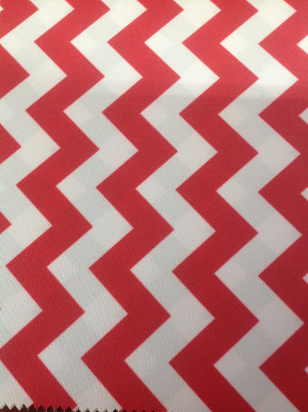 Zig Zag Chevron Canvas Outdoor Fabric Waterproof / Red/White / Sold By The Yard
