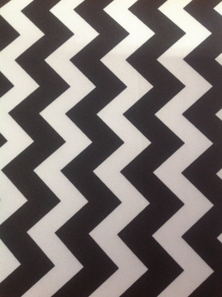Zig Zag Chevron Canvas Outdoor Fabric Waterproof / Black/White / Sold By The Yard
