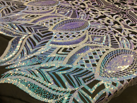 Iridescent Lilac/Aqua Sequins Fabric 4 Way Stretch By Yard Embroidered On Black Power Mesh With Shiny Sequins Dress Top