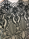 Mermaid Tail Sequins Designs Sold By The Yard Nude/Black 4 Way Stretch Fabric Sequins Fabric Embroidered Power Mesh Dress Top