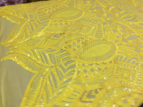 Yellow Sequins Fabric 4 Way Stretch By Yard Embroidered On Yellow Power Mesh With Shiny Sequins Dress Top