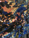 Stretch Velvet Sequins Iridescent Royal Orange Lime Sequins Fabric Mermaid Reversible Embroidery On Black Velvet 2 Way Stretch By The Yard