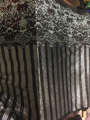 Luxurious Fence Design Sequin Fabric Sold By Yard Black/Mint Metallic 4 Way Stretch Fabric Sequins Fabric Embroidered on Black Power Mesh