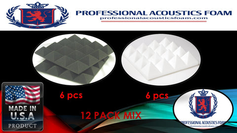 "Soundproof Foam Professional Acoustics Foam Acoustic Foam 12 Pack Room Kit MIX - Ivory and Charcoal Pyramid 3"" 24"" X 24"" Covers 48sq Ft"