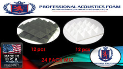 "Soundproof Foam Professional Acoustics Foam Acoustic Foam 24 Pack Room Kit MIX - Ivory and Charcoal Pyramid 3"" 24"" X 24"""