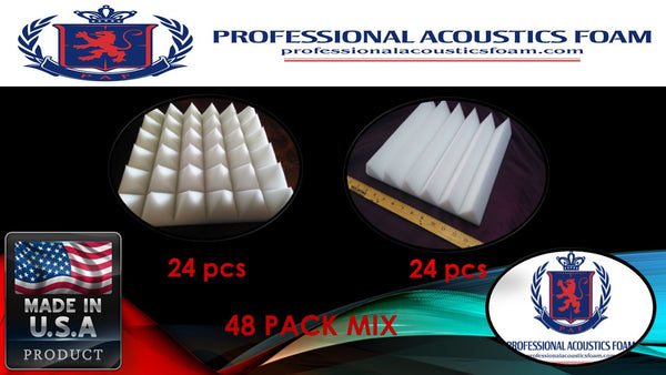 "Soundproof Foam Professional Acoustics Foam Ivory Acoustic Foam (48 Pack Kit) - Pyramid and Wedge 2"" 24"" X 24"" - Soundproofing/blocking/absorbing Acoustical Foam - Made in the Usa!"