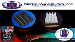 "Soundproof Foam Professional Acoustics Foam Acoustic Foam 24 Pack Room Kit MIX - Ivory and Charcoal Wedge 3"" 24"" X 24"""