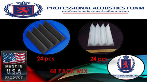 "Soundproof Foam 48 PACK MIX Professional Acoustic Foam Charcoal/Ivory Acoustic Foam Sound Absorption Wedge Studio Treatment Wall Panels, 3"" X 12"" X 12"""