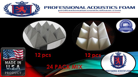 "Soundproof Foam Professional Acoustic Foam 24 Pack Kit - Charocal and Ivory MIX Pyramid 4"" 24"" x 24"" - SoundProofing/Blocking/Absorbing Acoustical Foam - Made in the USA!"