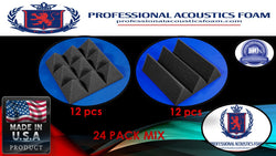 "Soundproof Foam Professional Acoustic Foam 24 Pack Kit - Charocal MIX Pyramid and Wedge 4"" 12"" x 12"