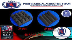 "Soundproof Foam Professional Acoustics Foam Acoustic Foam 48 Pack Room Kit MIX - CHARCOAL Pyramid and Wedge 3"" 24"" X 24"""