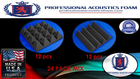 "Soundproof Foam Professional Acoustics Foam Acoustic Foam 24 Pack Room Kit MIX - CHARCOAL Pyramid and Wedge 3"" 24"" X 24"""