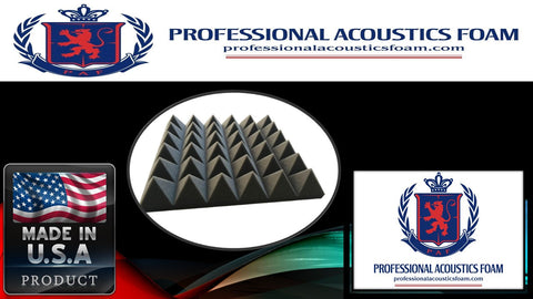 "Soundproof Foam Acoustic Foam (12 Pack Kit) - Pyramid 2"" 24"" x 24"" covers 48sq Ft - SoundProofing/Blocking/Absorbing Acoustical Foam - Made in the USA!"