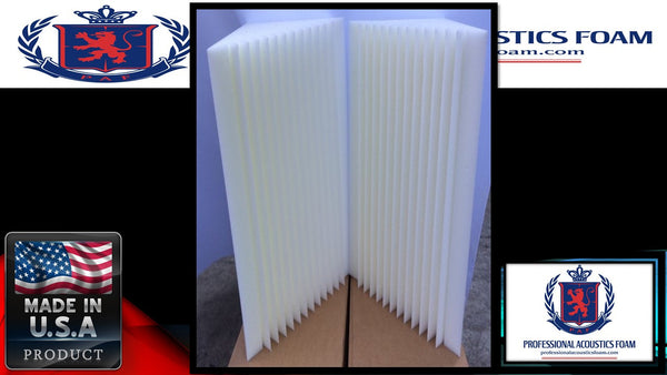 "Soundproof Foam New Professional Acoustics Foam Design 4 pack bass trap 12"" x 12"" x 36"" acoustic foam corner. Ivory"
