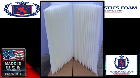 "Soundproof Foam New Professional Acoustics Foam Design 8 pack bass trap 12"" x 12"" x 36"" acoustic foam corner. Ivory"