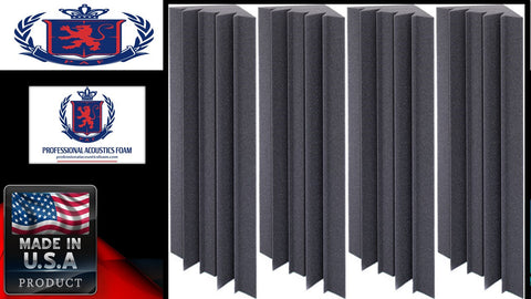 "Soundproof Foam Professional Acoustic Foam Bass Traps - 4 Pack (Charcoal) 12"" X 12"" X 36"""
