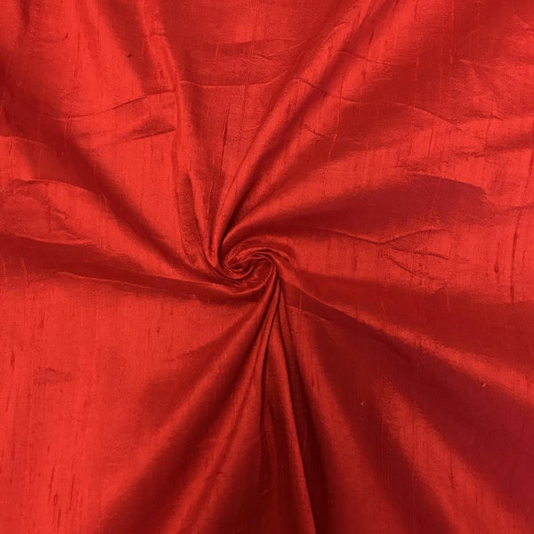 "100% Pure Silk Dupioni Fabric 54""Wide BTY Drape Blouse Dress Craft Sold By The Yard.Red"