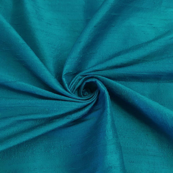"100% Pure Silk Dupioni Fabric 54""Wide BTY Drape Blouse Dress Craft Sold By The Yard. Turquoise"