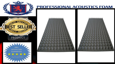 "Soundproof Foam Professional Charcoal Acoustic Foam Sound Absorption Pyramid Studio Treatment Wall Panel, 2"" X 24"" X 72"" (2 Pack)"