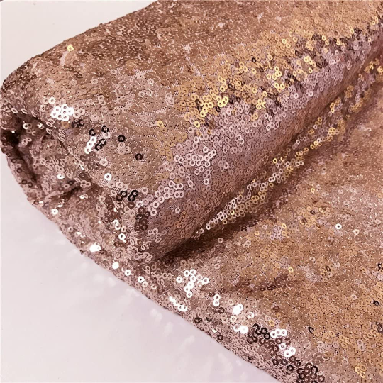 Sparkly Sequin Fabric Rose Gold Sequin Fabric for Bows Glitz Sequin Table Runner/Tablecloth/Dress. Sold By The Yard
