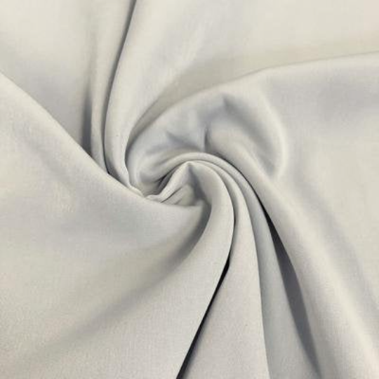 "Peach Skin Fabric By Yard 58"" Polyester Perfect For Blouses, Dresses, Jackets, Suits. Silver"