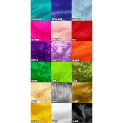 Faux Fake Fur Solid Shaggy Long Pile Fabric /Sold By The Yard. Choose Color Below