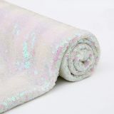 Sparkly Sequin Fabric Iridescent White Sequin Fabric for Bows Glitz Sequin Table Runner/Tablecloth/Dress. Sold By The Yard