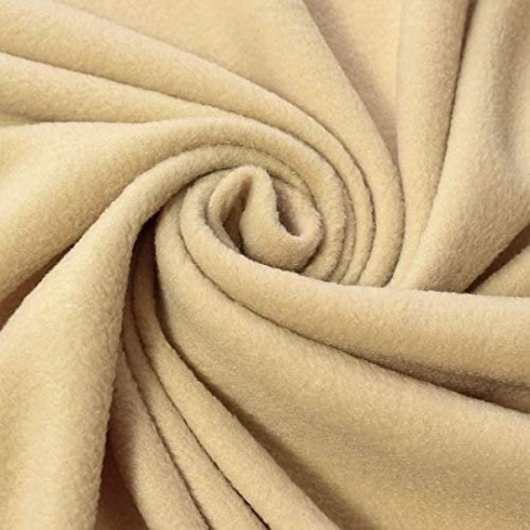 "Solid Polar Fleece Anti-Pill Fabric Sold By Yard 60"" Width Winter Polar Blankets Covers 2 Sided Brushed. KHAKI"
