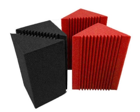 "Charcoal/Red Mix 8 Corner Bass Trap/Absorber - 12"" x 12"" x 24"" Acoustic Sound Foam Kit - SoundProofing and Deadening - Made In The USA!"