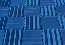 "3"" Blue Acoustic Foam (12 Pack Kit) - Wedge 3"" 12"" x 12"" covers 12sq Ft SoundProofing/Blocking/Absorbing Acoustical Foam - Made In USA!"