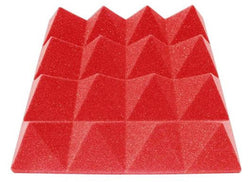 "3"" Red Acoustic Foam (12 Pack Kit) - Pyramid 3"" 12"" x 12"" covers 12sq Ft SoundProofing/Blocking/Absorbing Acoustical Foam Made In USA!"