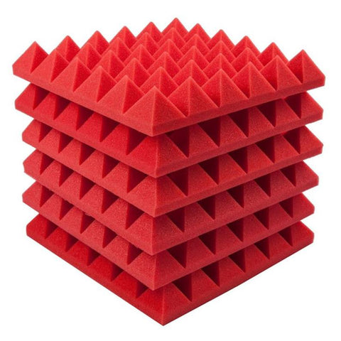 "2"" Red Acoustic Foam (12 Pack Kit) - Pyramid 2"" 12"" x 12"" covers 12sq Ft SoundProofing/Blocking/Absorbing Acoustical Foam Made In USA!"