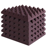 "2"" Burgundy Acoustic Foam (12 Pack Kit) - Pyramid 2"" 12"" x 12"" covers 12sq Ft SoundProofing/Blocking/Absorbing Acoustical Foam Made In USA!"