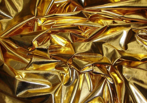 Costume 4 way stretch lame metallic spandex lycra fabric sold by 5 yards Gold