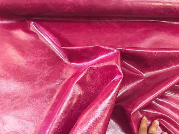 FAUX LEATHER Magenta Shinny Distressed Upholstery Vinyl-Faux Leather-Pvc-Sold By The yard